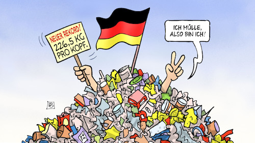 Cartoon: Müll-Rekord (medium) by Harm Bengen tagged rekord,verpackungsmüll,berg,fahne,harm,bengen,cartoon,karikatur,rekord,verpackungsmüll,berg,fahne,harm,bengen,cartoon,karikatur