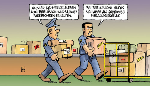 Cartoon: Paketbomben (medium) by Harm Bengen tagged paketbomben,paket,päckchen,bombe,terror,griechenland,flugverkehr,fracht,transport,empfänger,explosion,merkel,sakozy,berlusconi,skandal,sexskandal,sexbombe,bunga,paketbomben,paket,bombe,griechenland,terror,flugverkehr,fracht,transport,empfänger,explosion,merkel,post