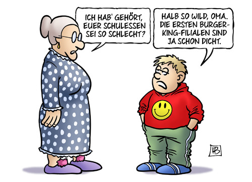 Cartoon: Schulessen (medium) by Harm Bengen tagged schulen,schule,schulessen,essen,fleisch,schlecht,oma,enkel,burger,king,filialen,schliessung,hygiene,harm,bengen,cartoon,karikatur,schulen,schule,schulessen,essen,fleisch,schlecht,oma,enkel,burger,king,filialen,schliessung,hygiene,harm,bengen,cartoon,karikatur