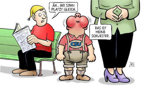 Cartoon: Schwestern (medium) by Harm Bengen tagged sohn,platzen,luftanhalten,schwester,merkel,seehofer,asylpolitik,unionsstreit,unionsfrieden,csu,cdu,christdemokraten,flüchtlinge,michel,harm,bengen,cartoon,karikatur,sohn,platzen,luftanhalten,schwester,merkel,seehofer,asylpolitik,unionsstreit,unionsfrieden,csu,cdu,christdemokraten,flüchtlinge,michel,harm,bengen,cartoon,karikatur