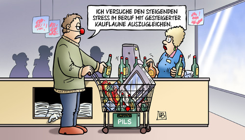 Cartoon: Stress und Kauflaune (medium) by Harm Bengen tagged stress,kauflaune,stressreport,leyen,arbeit,soziales,beruf,gfk,konsumklimaindex,konsum,supermarkt,alkohol,harm,bengen,cartoon,karikatur,stress,kauflaune,stressreport,leyen,arbeit,soziales,beruf,gfk,konsumklimaindex,konsum,supermarkt,alkohol,harm,bengen,cartoon,karikatur