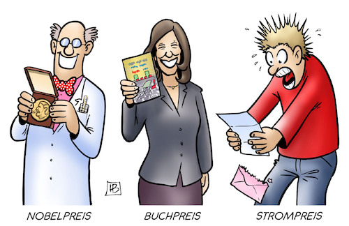 Cartoon: Strompreis-Rekord (medium) by Harm Bengen tagged strompreis,rekord,buchpreis,nobelpreis,schrecken,panik,harm,bengen,cartoon,karikatur,strompreis,rekord,buchpreis,nobelpreis,schrecken,panik,harm,bengen,cartoon,karikatur