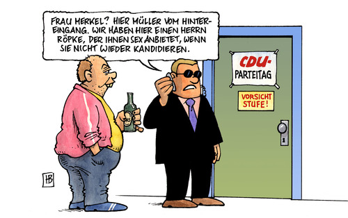Cartoon: Unmoralisches Angebot (medium) by Harm Bengen tagged unmoralisch,angebot,cdu,parteitag,merkel,sicherheitsbeamter,bodyguard,leibwächter,hintereingang,charlotte,roche,wulff,bundespräsident,unterschrift,atomgesetz,unmoralisches angebot,cdu,parteitag,angela merkel,sicherheitsbeamter,bodyguard,leibwächter,hintereingang,sex,charlotte,bundespräsident,unterschrift,atomgesetz,wulff,charlotte roche,akw,atomkraft,unmoralisches,angebot,angela,merkel,roche