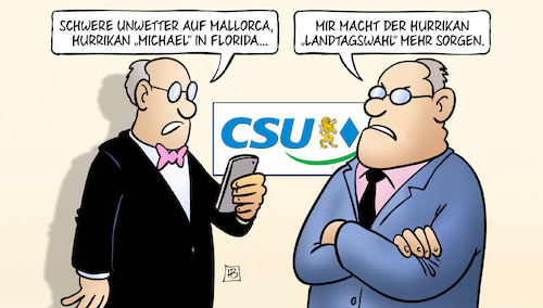 Cartoon: Unwetter (medium) by Harm Bengen tagged unwetter,mallorca,hurrikan,michael,florida,csu,landtagswahl,bayern,handy,harm,bengen,cartoon,karikatur,unwetter,mallorca,hurrikan,michael,florida,csu,landtagswahl,bayern,handy,harm,bengen,cartoon,karikatur