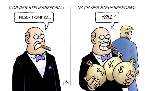 Cartoon: Vor und nach der Steuerreform (medium) by Harm Bengen tagged trump,steuerreform,reiche,usa,präsident,gewinn,harm,bengen,cartoon,karikatur,trump,steuerreform,reiche,usa,präsident,gewinn,harm,bengen,cartoon,karikatur