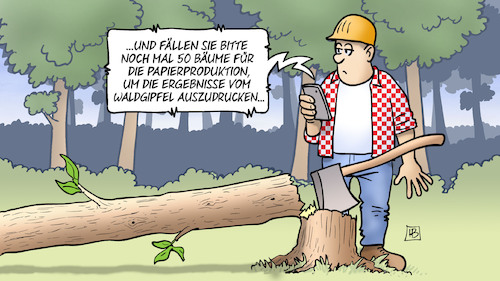 Cartoon: Waldgipfel-Papier (medium) by Harm Bengen tagged baum,fällen,baumfäller,papierproduktion,waldgipfel,ausdrucken,waldsterben,handy,axt,harm,bengen,cartoon,karikatur,baum,fällen,baumfäller,papierproduktion,waldgipfel,ausdrucken,waldsterben,handy,axt,harm,bengen,cartoon,karikatur