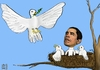 Cartoon: Hope - Hoffnung (small) by Dadaphil tagged hope,hoffnung,obama,nobel,price,peace,frieden,taube,dove