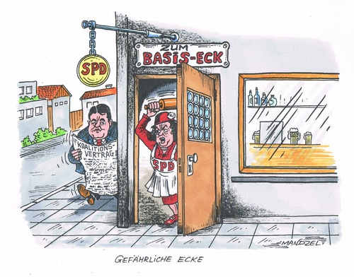 Cartoon: Gefährliche Ecke (medium) by mandzel tagged gabriel,spd,koalitionsvertrag,basis,gabriel,spd,koalitionsvertrag,basis