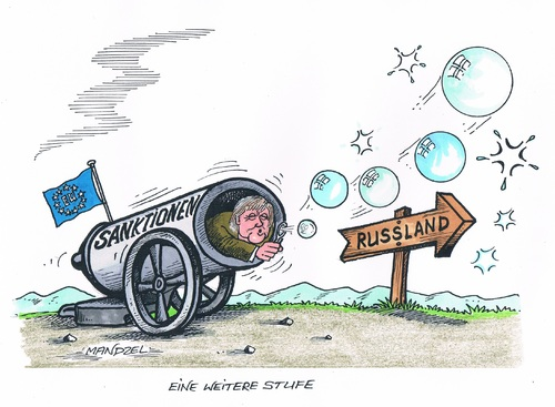 Cartoon: Weiche Vergeltung (medium) by mandzel tagged russland,merkel,sanktionen,seifenblasen,russland,merkel,sanktionen,seifenblasen