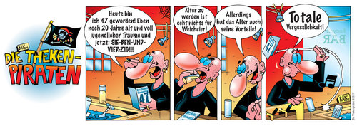 Cartoon: Die Thekenpiraten 09 (medium) by stefanbayer tagged recyclebar,tresen,getränk,nachdenken,alter,vergessen,alt,comic,stefan,bayer,stefanbayer,theke,piraten,thekenpiraten,kneipe,bar,lounge,trinken,freizeit,gastronomie,geburtstag,47,weicheier,geburtstagskarte,vergesslichkeit,alzheimer