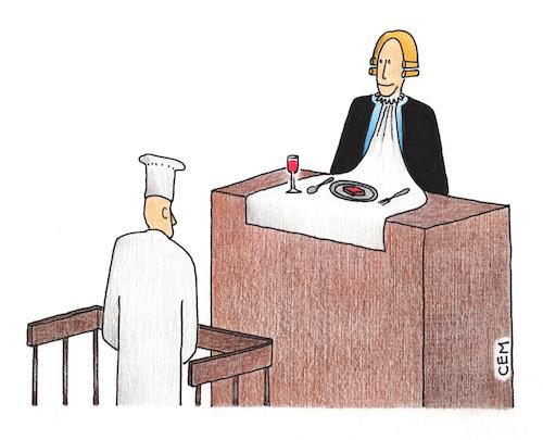 Cartoon: accused chef (medium) by cemkoc tagged court,accused,chef,judge,justice,law
