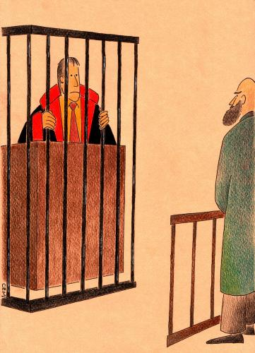 Cartoon: court (medium) by cemkoc tagged tribunal,judgement,court,judicial,judge,justice,ko,cem,karikatürleri,hukuk,cartoons,law,supreme,lex,jurisdiction,legal,gesetz,richter,adalet,hakim,mahkeme,robe,wig,defendant,prosecutor,koc,magistrate,judgeship