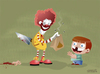 Cartoon: Happy meal (small) by cosmicomix tagged happy,meal,mc,donald,ronald,sadist,evil,clown,junk,food