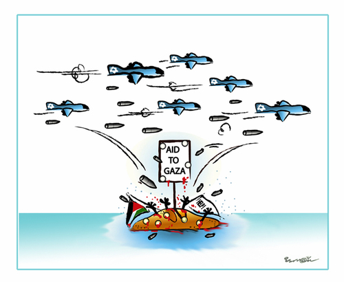 Cartoon: AID TO GAZA !.. (medium) by ismail dogan tagged gaza