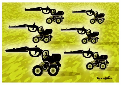 Cartoon: TRACTEURS (medium) by ismail dogan tagged europeens,agriculteurs