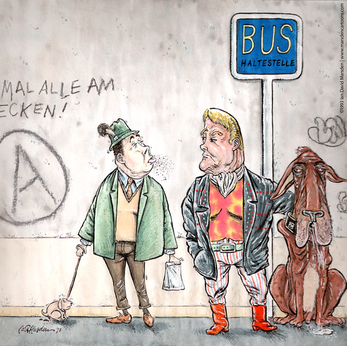 Cartoon: Neulich an der Bushaltestelle (medium) by ian david marsden tagged hund,bus,haltestelle,muskeln,dog,poop,public,transportation,cartoon,marsden