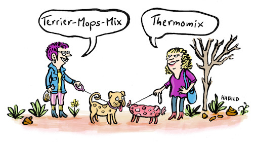 Cartoon: Thermomix (medium) by habild tagged hunde,gassi,mischling,mops,terrier,frauchen