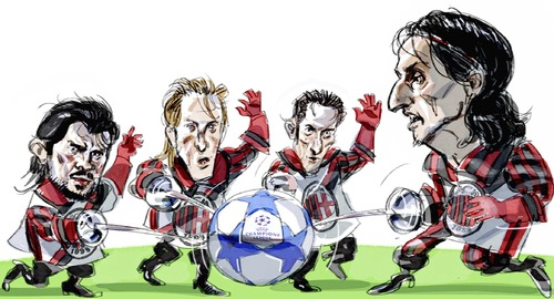 Cartoon: Milan (medium) by portos tagged milan,ibrahimovic,gattuso,ambrosini,flamini