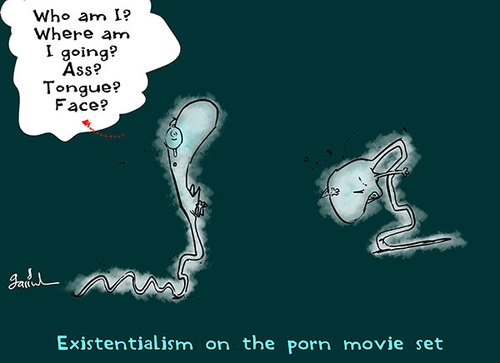 Cartoon: Existentialism (medium) by Garrincha tagged erotic,movies