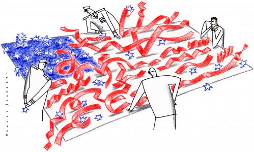 Cartoon: the day after...... (medium) by Ronald Slabbers tagged fahne,wahl,flag,election,obama,bush,us,usa