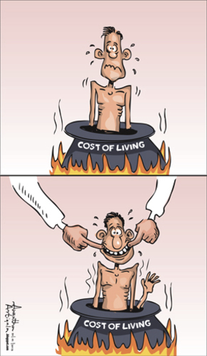 Cartoon: COST OF LIVING (medium) by awantha tagged cost,of,living
