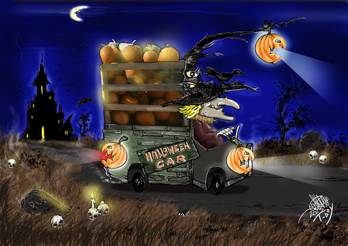 Cartoon: HALLOWEEN CAR (medium) by T-BOY tagged halloween,car