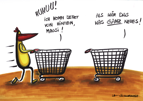 Cartoon: . (medium) by LA RAZZIA tagged einkaufswagen,shopping,cart,super,market,einkaufen
