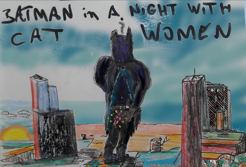 Cartoon: bat d night.. (medium) by wheelman tagged batman,catwomen,night