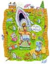 Cartoon: Lawn Sharks (small) by mikess tagged sharks,yard,jaws,shark,attack,backyard,reading,blood,cut,books,paper,lawn,chairs,furniture,cats,neighbors