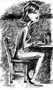 Cartoon: Girl Friday (small) by michaelscholl tagged woman,sitting,profile,ink