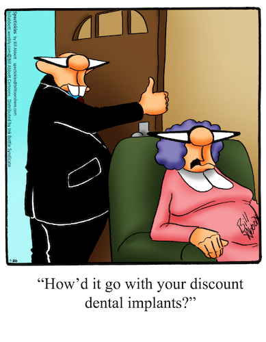 Cartoon: Dental Implants (medium) by Billcartoons tagged dentist,dental,teeth,tooth,implants,husband,wife,marriage,romance,romantic,love