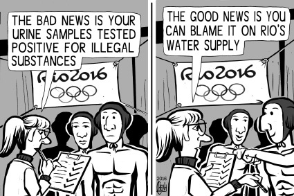 Cartoon: Rio Olympics water (medium) by sinann tagged rio,olympics,water,supply,urine,tests,pollution,blame