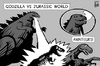 Cartoon: Jurassic World vs Godzilla (small) by sinann tagged jurassic,world,godzilla