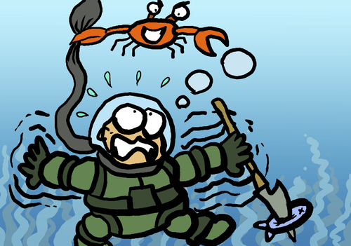 Cartoon: DIVER (medium) by MERT_GURKAN tagged animals,crab,diver,caricature