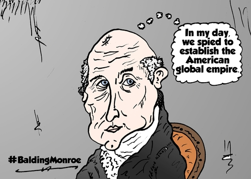 Cartoon: Empirical Bald Monroe comic (medium) by BinaryOptions tagged bald,balding,president,monroe,spy,empire,caricature,webcomic,cartoon,comic,binary,option,options,trade,trading,optionsclick,political,editorial,news,satire