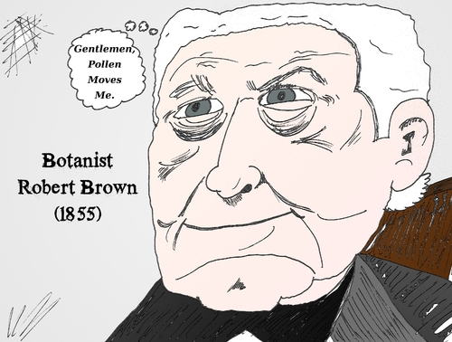 Cartoon: Robert Brown caricature (medium) by BinaryOptionsBinaires tagged robert,brown,brownian,geometric,motion,myron,black,fischer,scholes,binary,option,options,trader,trading,optionsclick,caricature,editorial,business,science,cartoon
