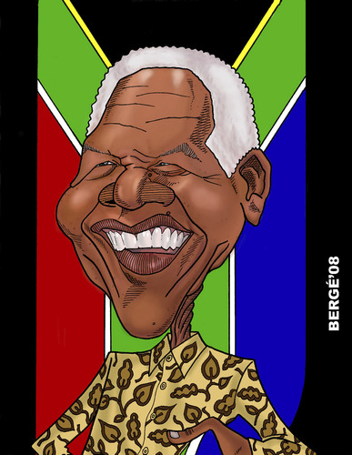 Cartoon: Nelson Mandela (medium) by Berge tagged caricature,politician,president,republica,south,africa