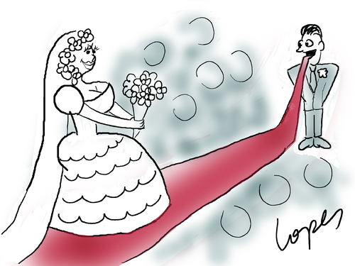 Cartoon: Eager Bridegroom (medium) by Lopes tagged bride,groom,bridegroom,wedding,red,carpet,tongue,couple,married