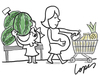 Cartoon: Watermelon Belly (small) by Lopes tagged watermelon,woman,pregnant,belly,girl,supermarket
