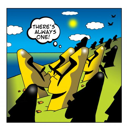 Cartoon: always one (medium) by toons tagged easter,island,statue,sculpture,monument,individuals,always,one