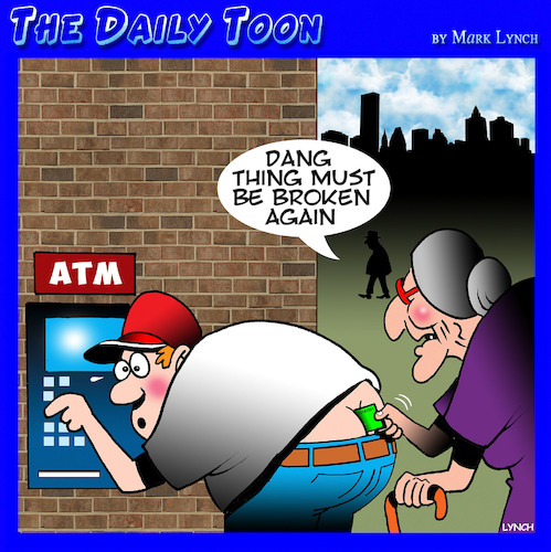 Cartoon: ATM (medium) by toons tagged atm,hand,bank,banking,plumbers,trousers,crack,pensioners,short,sighted,atm,hand,bank,banking,plumbers,trousers,crack,pensioners,short,sighted