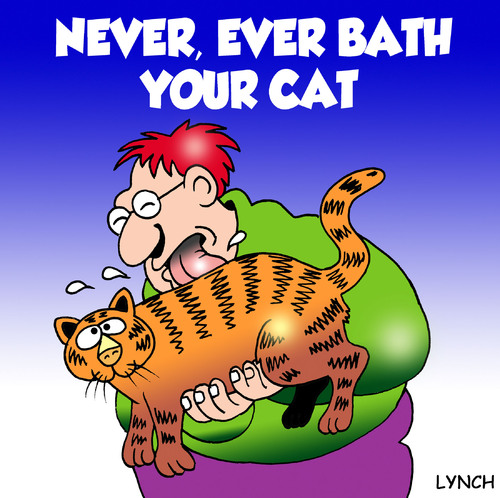 Cartoon: bath your cat (medium) by toons tagged cats,felines,bathing,shower,animals