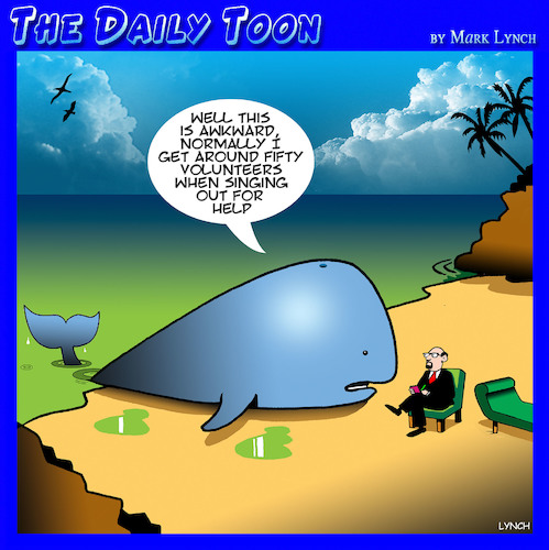 Cartoon: Beached whale (medium) by toons tagged whales,beached,volunteers,whales,beached,volunteers