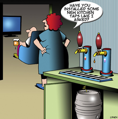 Cartoon: Beer taps (medium) by toons tagged kitchen,taps,beer,keg,plumber,kitchen,taps,beer,keg,plumber