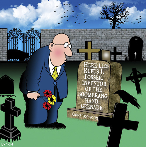 Cartoon: Boomerang (medium) by toons tagged boomerangs,hand,grenade,suicide,gravestone,tombstone,cemetary,boomerangs,hand,grenade,suicide,gravestone,tombstone,cemetary