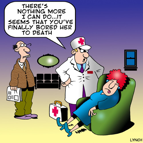 Cartoon: bored to death (medium) by toons tagged boring,bored,talking,marriage,first,aid,doctor,ambulance,relationships,divorce,death,wet,blanket