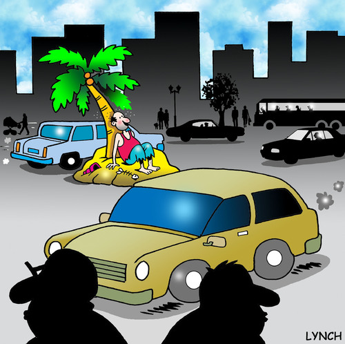 Cartoon: city island (medium) by toons tagged desert,island,urban,life,cities,lonely,marooned,stranded,unloved,lost,traffic,vehicles