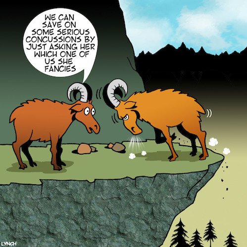 Cartoon: Concussions (medium) by toons tagged concussion,mountain,goats,butting,heads,romance,animals,concussion,mountain,goats,butting,heads,romance,animals