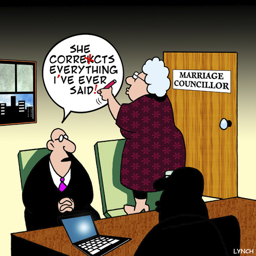 Cartoon: corrections (medium) by toons tagged spelling,english,corrections,marriage,councillor,relationships,therapy,conflict,resolution,divorce