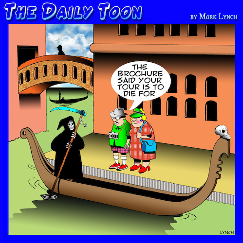 Cartoon: Death in Venice (medium) by toons tagged angel,of,death,gondolas,venice,apocalypse,tourists,italy,tourism,travel,brochures,angel,of,death,gondolas,venice,apocalypse,tourists,italy,tourism,travel,brochures